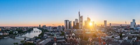 Summer panorama of the financial district in Frankfurt- Stock Photo or Stock Video of rcfotostock | RC-Photo-Stock