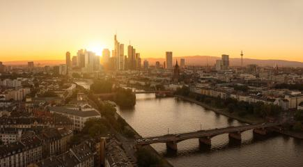 Summer Sunset panorama of the financial district in Frankfurt, Germany- Stock Photo or Stock Video of rcfotostock | RC-Photo-Stock