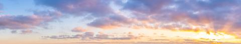 Summer sunset sky panorama with fleece clouds. Summer evening good weather background.- Stock Photo or Stock Video of rcfotostock | RC-Photo-Stock