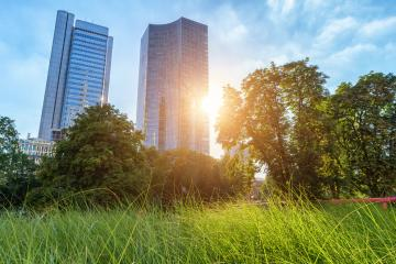 sun between office buildings : Stock Photo or Stock Video Download rcfotostock photos, images and assets rcfotostock | RC-Photo-Stock.: