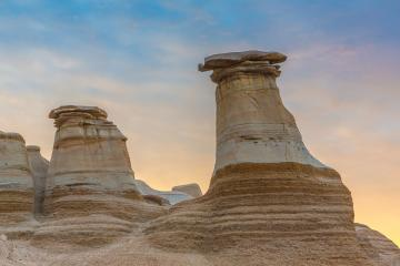 sunrise at Hoodoos near Drumheller at alberta canada : Stock Photo or Stock Video Download rcfotostock photos, images and assets rcfotostock | RC-Photo-Stock.: