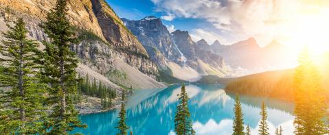 Sunrise at Moraine Lake Canada, panorma : Stock Photo or Stock Video Download rcfotostock photos, images and assets rcfotostock | RC-Photo-Stock.: