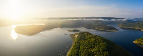 Sunrise at the Rursee lake in the Eifel National Park- Stock Photo or Stock Video of rcfotostock | RC-Photo-Stock