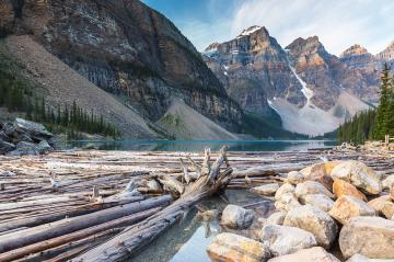 Sunrise over Moraine Lake, Banff National Park, Alberta, Canada- Stock Photo or Stock Video of rcfotostock | RC-Photo-Stock