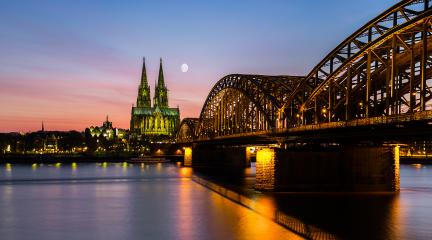 Sunset at Cologne City with cathedral and Hohenzollern bridge- Stock Photo or Stock Video of rcfotostock | RC-Photo-Stock