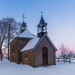sunset at the chapel Fischbach at winter time- Stock Photo or Stock Video of rcfotostock | RC-Photo-Stock