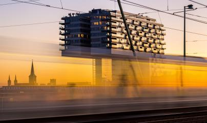 Sunset at the crane house building in cologne : Stock Photo or Stock Video Download rcfotostock photos, images and assets rcfotostock | RC-Photo-Stock.: