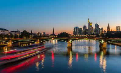 Sunset at the Ignatz Bubis bridge in Frankfurt am Main, germany- Stock Photo or Stock Video of rcfotostock   RC-Photo-Stock