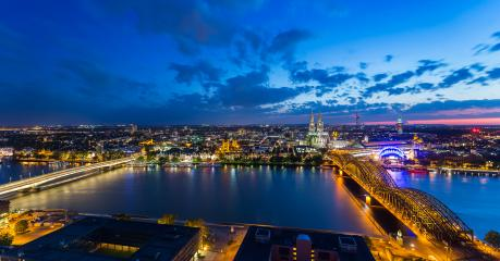 Sunset night skyline panorama of cologne city- Stock Photo or Stock Video of rcfotostock | RC-Photo-Stock