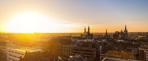 sunset over aachen city- Stock Photo or Stock Video of rcfotostock | RC-Photo-Stock