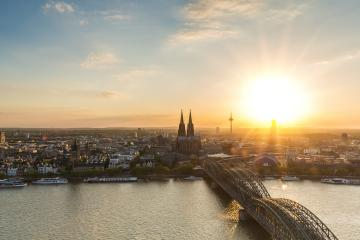 Sunset over Cologne city in germany- Stock Photo or Stock Video of rcfotostock | RC-Photo-Stock
