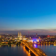 Sunset over cologne city with cathedra in summer- Stock Photo or Stock Video of rcfotostock | RC-Photo-Stock