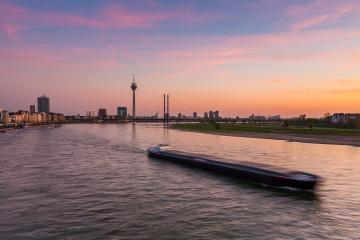 sunset over Dusseldorf at the rhine river  : Stock Photo or Stock Video Download rcfotostock photos, images and assets rcfotostock | RC-Photo-Stock.: