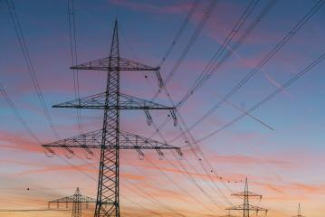 Sunset over the electric power lines- Stock Photo or Stock Video of rcfotostock | RC-Photo-Stock