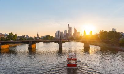 Sunset Skyline of Frankfurt and Main river, Germany- Stock Photo or Stock Video of rcfotostock | RC-Photo-Stock