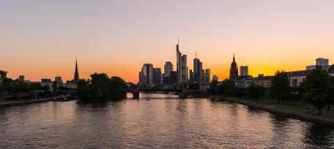 Sunset Skyline silhouette of Frankfurt am Main, Germany- Stock Photo or Stock Video of rcfotostock | RC-Photo-Stock