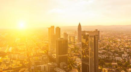 Sunset view european city Frankfurt am main skyscrapers- Stock Photo or Stock Video of rcfotostock | RC-Photo-Stock