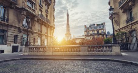 Sunset view of the Eiffel Tower from the Avenue de Camoens of in paris, france- Stock Photo or Stock Video of rcfotostock | RC-Photo-Stock