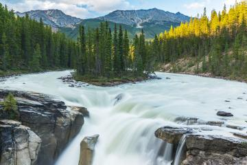 Sunwapta falls island national park Canada  : Stock Photo or Stock Video Download rcfotostock photos, images and assets rcfotostock | RC-Photo-Stock.:
