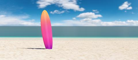 surfboard on the beach, copy space for individual text- Stock Photo or Stock Video of rcfotostock | RC-Photo-Stock