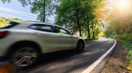 SUV car drives Long a Curvy Forest Road In Alpine Mountains at sunrise : Stock Photo or Stock Video Download rcfotostock photos, images and assets rcfotostock | RC-Photo-Stock.: