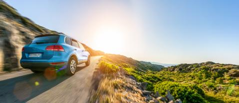 SUV car in spain mountain landscape road at sunset- Stock Photo or Stock Video of rcfotostock | RC-Photo-Stock