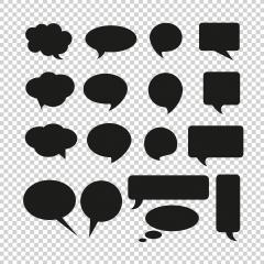Talk and think comics bubbles silhouettes for communication Set icon on checked transparent background. Vector illustration. Eps 10 vector file. : Stock Photo or Stock Video Download rcfotostock photos, images and assets rcfotostock | RC-Photo-Stock.: