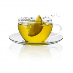 Tea cup glass with a lemon citrus splash hot drink isolated on white - Stock Photo or Stock Video of rcfotostock | RC-Photo-Stock