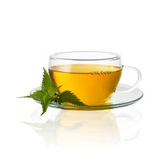 Tea cup glass with nettle leaf hot drink medicinal plant isolated on white - Stock Photo or Stock Video of rcfotostock | RC-Photo-Stock