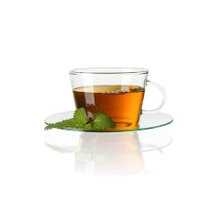 teacup tea with mint peppermint leaf and bubbles hot drink aroma isolated on white background with reflection- Stock Photo or Stock Video of rcfotostock | RC-Photo-Stock