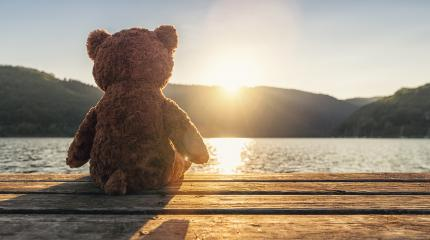 teddy bear sitting on a jetty at a lake on sunset, rear view. Love theme. Concept about love and relationship. copyspace for your individual text.- Stock Photo or Stock Video of rcfotostock | RC-Photo-Stock
