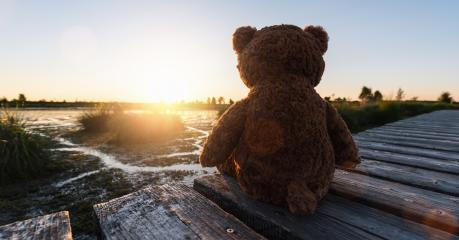 teddy bear sitting on a jetty/pier at a lake on sunset, rear view. Love theme. Concept about love and relationship. copyspace for your individual text. : Stock Photo or Stock Video Download rcfotostock photos, images and assets rcfotostock | RC-Photo-Stock.: