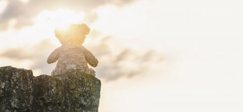 Teddy bear sitting on a stone at sunset. copyspace for your individual text. : Stock Photo or Stock Video Download rcfotostock photos, images and assets rcfotostock | RC-Photo-Stock.: