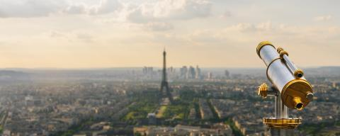 Telescope on top with view to the Eiffel Tower and skyline in Paris- Stock Photo or Stock Video of rcfotostock | RC-Photo-Stock