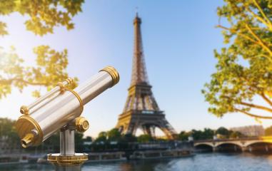Telescope with view to the Eiffel Tower in Paris- Stock Photo or Stock Video of rcfotostock | RC-Photo-Stock