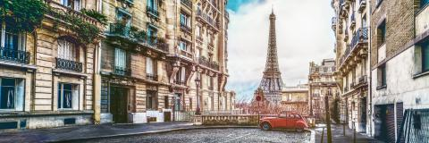 The eifel tower in Paris from a tiny street : Stock Photo or Stock Video Download rcfotostock photos, images and assets rcfotostock | RC-Photo-Stock.: