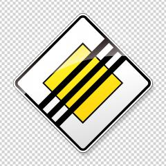The end of the Priority road Traffic sign. German road sign: end of respect the right of way. Yield! on main road on checked transparent background. Vector illustration. Eps 10 vector file.- Stock Photo or Stock Video of rcfotostock | RC-Photo-Stock