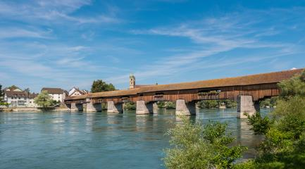 The historic wood border bridge over Rhine river and Fridolins minster in Bad Saeckingen at summer, Black Forest, Baden-Wurttemberg, Germany, Europe- Stock Photo or Stock Video of rcfotostock | RC-Photo-Stock