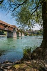 The historic wood bridge over Rhine river in Bad Saeckingen at summer, Black Forest, Baden-Wurttemberg, Germany, Europe- Stock Photo or Stock Video of rcfotostock | RC-Photo-Stock
