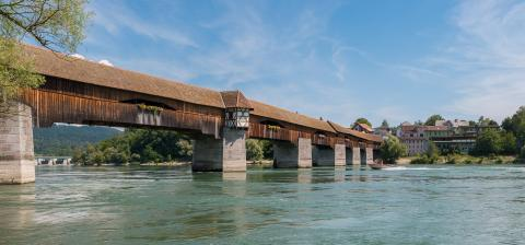 The historic wood bridge to Switzerland over Rhine river in Bad Saeckingen at summer, Black Forest, Baden-Wurttemberg, Germany, Europe- Stock Photo or Stock Video of rcfotostock | RC-Photo-Stock