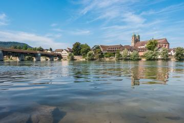 The Rhine river with the historic wood bridge and Fridolins minster in Bad Saeckingen at summer, Black Forest, Baden-Wurttemberg, Germany, Europe- Stock Photo or Stock Video of rcfotostock | RC-Photo-Stock