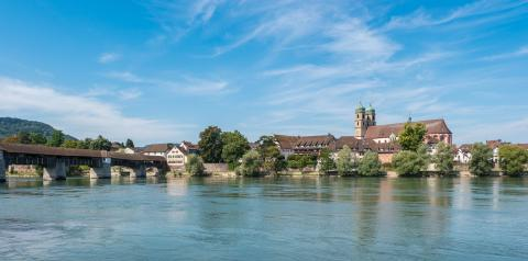 The Rhine with the historic wood bridge and Fridolins minster in Bad Saeckingen at summer, Black Forest, Baden-Wurttemberg, Germany, Europe- Stock Photo or Stock Video of rcfotostock | RC-Photo-Stock