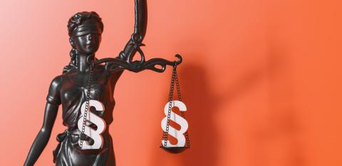 The Statue of Justice - lady justice or Iustitia / Justitia the Roman goddess of Justice, with paragraphs in scales- Stock Photo or Stock Video of rcfotostock | RC-Photo-Stock