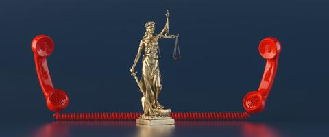The Statue of Justice - lady justice or Iustitia / Justitia the Roman goddess of Justice, with red telephone receiver as lawyer concept image- Stock Photo or Stock Video of rcfotostock | RC-Photo-Stock
