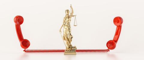 The Statue of Justice - lady justice or Iustitia / Justitia the Roman goddess of Justice, with red telephone receiver as lawyer concept image- Stock Photo or Stock Video of rcfotostock   RC-Photo-Stock