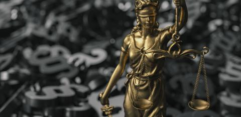 The Statue of Justice - lady justice or Iustitia / Justitia the Roman goddess of Justice with black paragraphs : Stock Photo or Stock Video Download rcfotostock photos, images and assets rcfotostock | RC-Photo-Stock.: