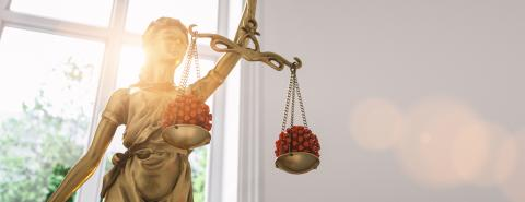 The Statue of Justice - lady justice or Iustitia / Justitia the Roman goddess of Justice with coronavirus covid-19 in scale, law concept image for lockdown and german Infection Protection Act, banner- Stock Photo or Stock Video of rcfotostock | RC-Photo-Stock