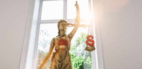 The Statue of Justice - lady justice or Iustitia / Justitia the Roman goddess of Justice with coronavirus covid-19 in scale, law concept image for lockdown and german Infection Protection Act, banner : Stock Photo or Stock Video Download rcfotostock photos, images and assets rcfotostock | RC-Photo-Stock.: