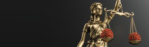 The Statue of Justice - lady justice or Iustitia / Justitia the Roman goddess of Justice with coronavirus covid-19 in scale, law concept image, banner size- Stock Photo or Stock Video of rcfotostock | RC-Photo-Stock