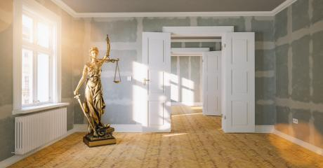 The Statue of Justice - Lady Justice or Iustitia / Justitia the Roman Goddess of Justice in a large empty room as sign for tenancy law or landlord- Stock Photo or Stock Video of rcfotostock | RC-Photo-Stock